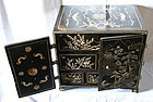 Rare Korean Safe, Black Lacquered with Mother-of-Pearl