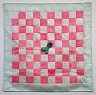 Beautiful Korean Bojagi Textile in Pink and White Silk Squares