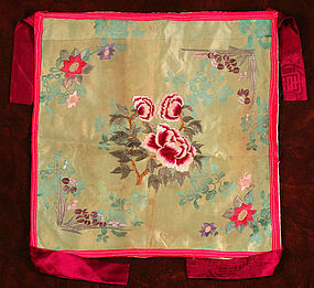 Lovely, Iridescent and Finely Embroidered Silk Bojagi Wrapping Cloth