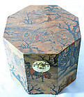 Korean Antique Painted Box with six sides and Beautiful Rural Scenery