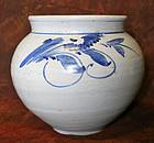 19th Century Blue and White Porcelain Jar from Haeju, North Korea