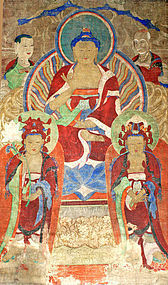 Large and Beautifully-Mounted 19th Century Korean Buddhist Painting