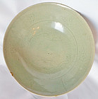 Rare, 12th C. Subtly Carved Celadon Bowl with Parrots Flying in Clouds