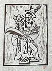 Shaman Woodblock Print by Hong Sung Dam, Minjung Art