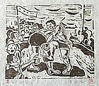 Wrestling Match Woodblock Print by Hong Sung Dam