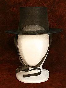 Antique Gentleman Scholar's Hat with Silk Chin Straps