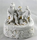German Porcelain Hunter Trinket Box