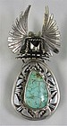 Bennie Ration Kachina Sterling Turquoise Bolo Tie