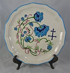 French Longwy Faience Plate 10""