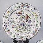Set Of 4 Davenport Stone China Bird Plates Ca. 1830