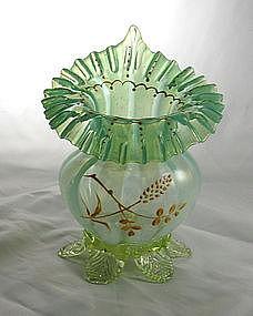 Opalescent Vaseline Jack-in-pulpit Vase Art Glass