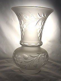 Argand Trumpet Cut Glass Shade Antique