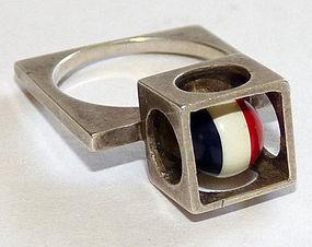 1960s Op-Art Cubist Cage Ring - Super Mod!