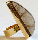 Incredible Modernist Rutilated Quartz 14K Gold Ring