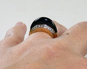 Signed Art Deco 14K Pave Diamond Onyx Ring