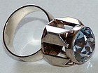 Scandinavian Modernist High-Set Blue Crystal Ring