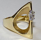 Unique Signed 14K Modernist Diamond Ring