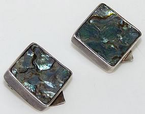 Modernism Signed Danish Abalone CGP Sterling Earrings