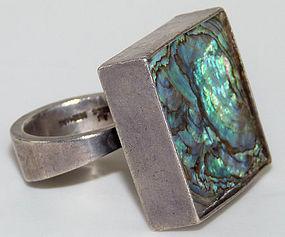Huge Arne Johansen Denmark 1950s Abalone Modernist Ring