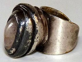 Chunky Jacob Hull Rose Quartz Silver Danish Ring