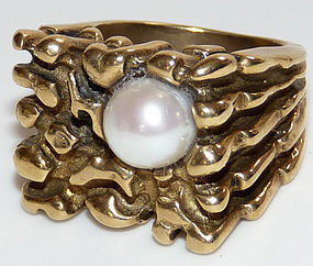 Chunky and Heavy Bronze Ring with Pearl