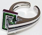 Wild 3-Dimensional Geometric Sterling Enamel Ring