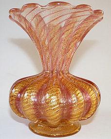 Fine Barovier & Toso Cordonato Oro Vase w/ Org Label