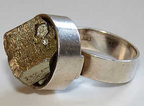 Modernist 1969 British Sterling Ring with Iron Pyrite