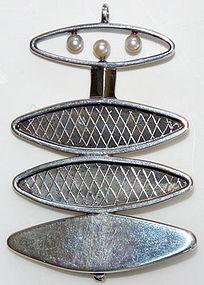 1950s Modernist John Pagacz Sterling & Pearl Pendant