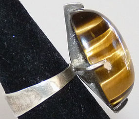 Huge Tiger-Eye Modernist 1970s Sterling Ring by Pinegem