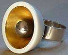 Anton Michelsen Denmark 1970s Sterling Porcelain Ring