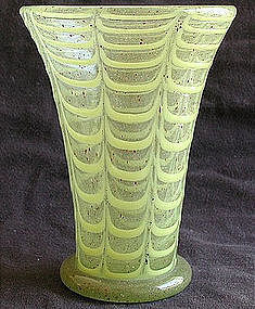 Early Murano Aventurine & Yellow Draped Vase