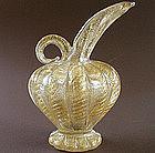 Golden 1950s Murano Barovier & Toso Cordonato Oro Vase