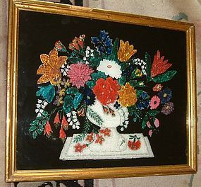 Superb Tinsel or Foil Painting   NY c1870