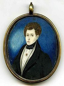Wonderful American Miniature Painting  c1825