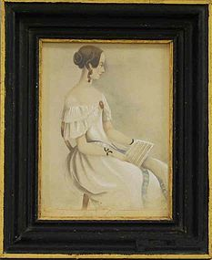Folk Art Mourning Portrait of Young Woman   c1850
