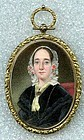 Miniature Portraitng American School 14K Case c1845