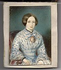 Miniature American Portrait Painting c1845