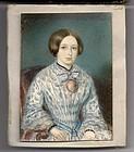 Miniature American Portrait Painting c1845