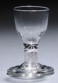 English Terraced Foot Firing Dram Glass Opaque Twist