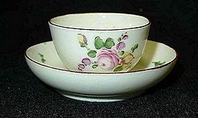 Derby Porcelain Miniature Tea Bowl and Saucer c1770