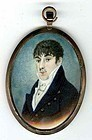Colorful Miniature Portrait c 1825