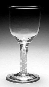 Large Opaque Twist Antique English Glass Goblet c1765