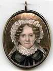 Unusual American Miniature Portrait of a Woman  c1815
