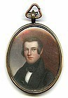 American Miniature Portrait on Wood c1825