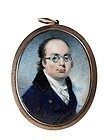 Striking Miniature of Bespectacled Man c1810