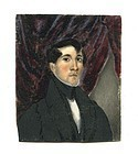 American Folk Art Miniature Portrait c1835