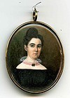 Beautiful American Miniature Portrait of Woman c1830