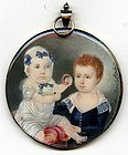Charming Miniature Portrait of Two Children, Signed  c1830