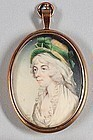 Rare Signed David Gibson Portrait Miniature of a Woman c1793